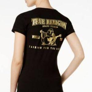 NWOT True Religion Slim Gold Metallic V   …